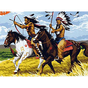 SEG de Paris Needlepoint - Medium Needlepoint Canvases - Indians on Horseback
