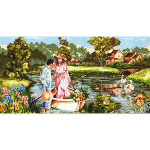 SEG de Paris Needlepoint - Tapestries - Romantic Boat Ride Canvas