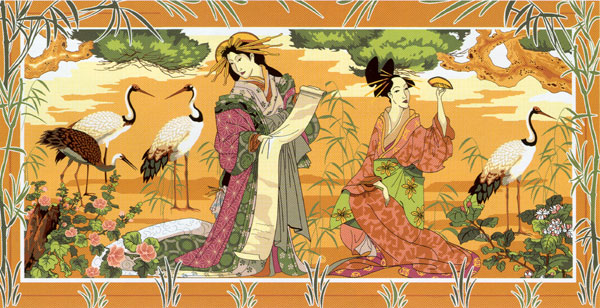 SEG de Paris Needlepoint - Tapestries - Le Jardin des Geishas (Garden of the Geishas)