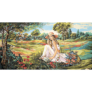SEG de Paris Needlepoint - Tapestries - Reading in the Valley of Flowers Canvas
