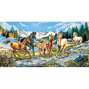 SEG de Paris Needlepoint  - Tapestries -Cavalcade a l'eau Vive (Cavalcade Through Running Water) Canvas