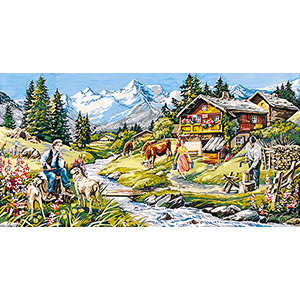 SEG de Paris Needlepoint - Tapestries - L'ete au Chalet (Summer Cottage) Canvas