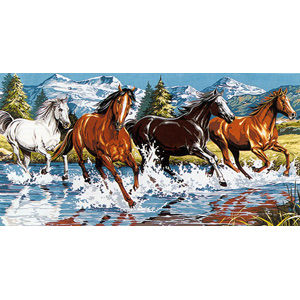 SEG de Paris Needlepoint - Tapestries - At Full Gallop Canvas