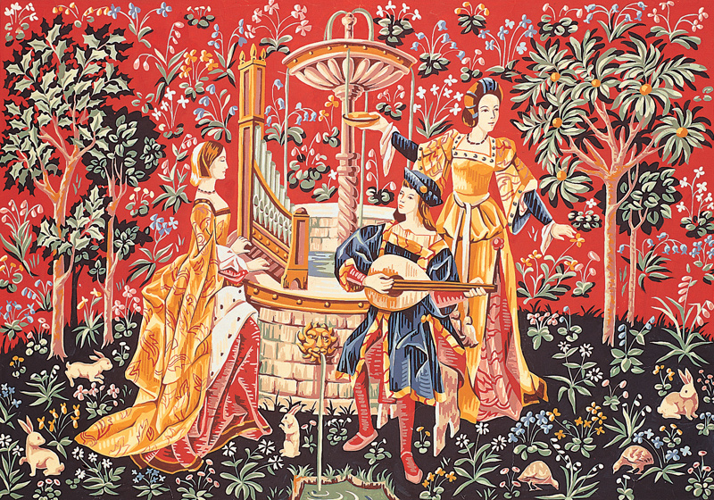 SEG de Paris Needlepoint - Tapestries - Concert a la Fontaine (Concert at the Fountain)