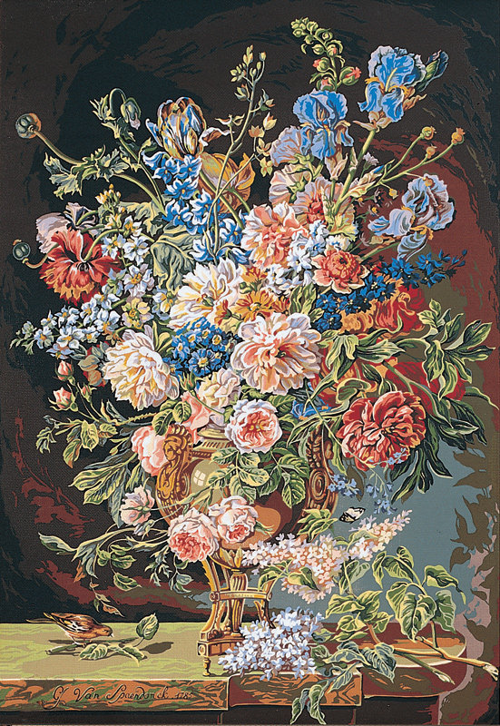 SEG de Paris Needlepoint - Tapestries - Vase de Fleurs (Vase of Flowers by Van Spaendonck)