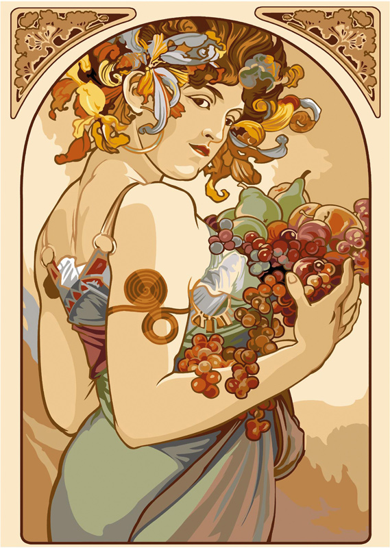 SEG de Paris Needlepoint - Tapestries - Le Fruits de Mucha