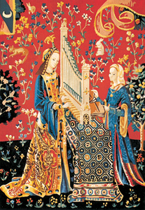 "SEG de Paris Needlepoint - Tapestries - La Dame a la Licorne L'Ouie - (The Lady and the Unicorn ""Hearing"")"