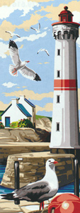 SEG de Paris Needlepoint - Small Needlepoint Canvases - Le Phare aux Mouettes (Lighthouse and Seagulls)
