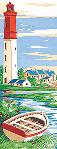 SEG de Paris Needlepoint - Small Needlepoint Canvases - Red Lighthouse in Summer
