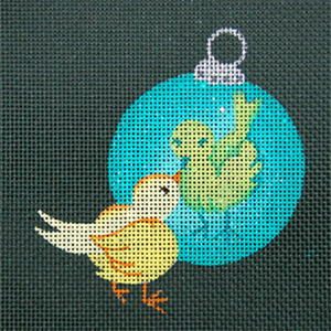 Reflections in Shimmering Globe - Birdie - Hand Painted Needlepoint Canvas from dede's Needleworks