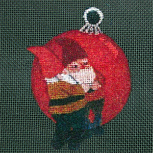 Reflections in Shimmering Globe - Elf - Hand Painted Needlepoint Canvas from dede's Needleworks