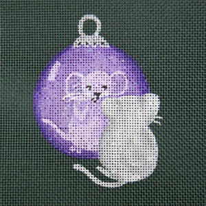 Reflections in Shimmering Globe - Mouse - Hand Painted Needlepoint Canvas from dede's Needleworks