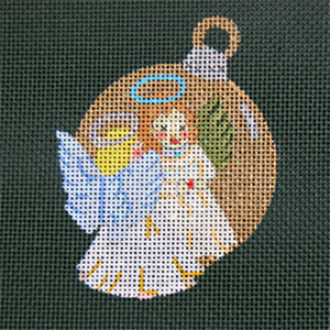 Reflections in Shimmering Globe - Angel - Hand Painted Needlepoint Canvas from dede's Needleworks