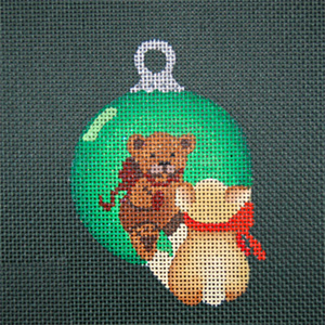 Reflections in Shimmering Globe - Bear - Hand Painted Needlepoint Canvas from dede's Needleworks