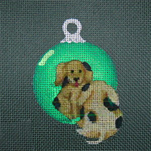 Reflections in Shimmering Globe - Doggie - Hand Painted Needlepoint Canvas from dede's Needleworks