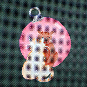 Reflections in Shimmering Globe - Cat - Hand Painted Needlepoint Canvas from dede's Needleworks