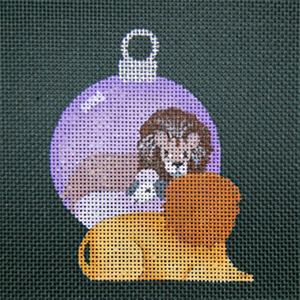 Reflections in Shimmering Globe - Lion and Lamb - Hand Painted Needlepoint Canvas from dede's Needleworks