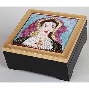 Black with Gold Frame Needlepoint Presentation Box 6x6