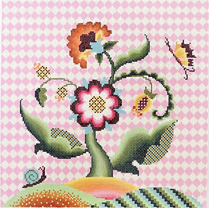 Jacobean Sunrise Hand Painted Needlepoint Canvas from Abigail Cecile