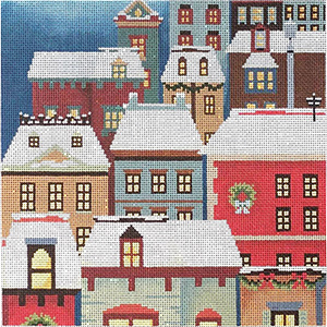 Christmas Eve Town Pillow Hand Painted Needlepoint Canvas from Abigail Cecile