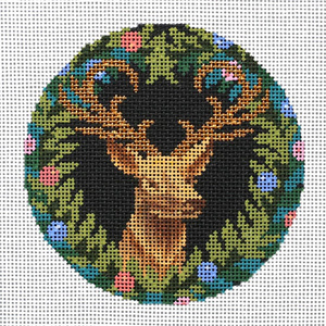 Royal Stag Ornament Hand Painted Needlepoint Canvas from Abigail Cecile