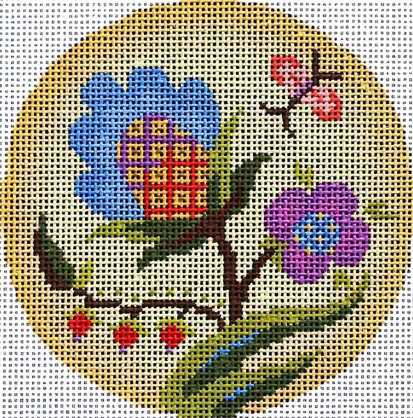 Jacobean Glow Ornament Hand Painted Needlepoint Canvas from Abigail Cecile