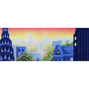 Rooftops of New York Hand Painted Needlepoint Canvas from Abigail Cecile