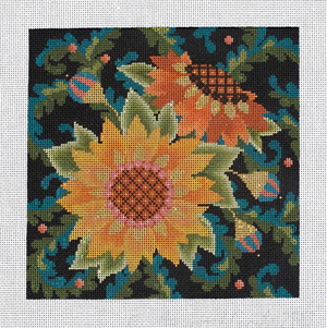 Jacobean Sunflowers Hand Painted Needlepoint Canvas from Abigail Cecile