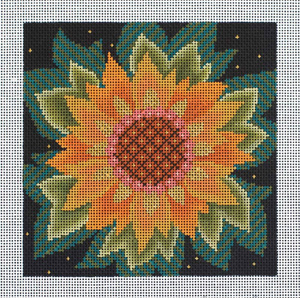 Single Jacobean Sunflower Hand Painted Needlepoint Canvas from Abigail Cecile