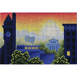 Rooftops of St. Louis Postcard Hand Painted Needlepoint Canvas from Abigail Cecile