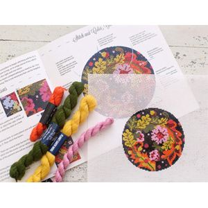 Floral Equinox Kit Hand Painted Needlepoint Canvas with Complete Kit from Abigail Cecile