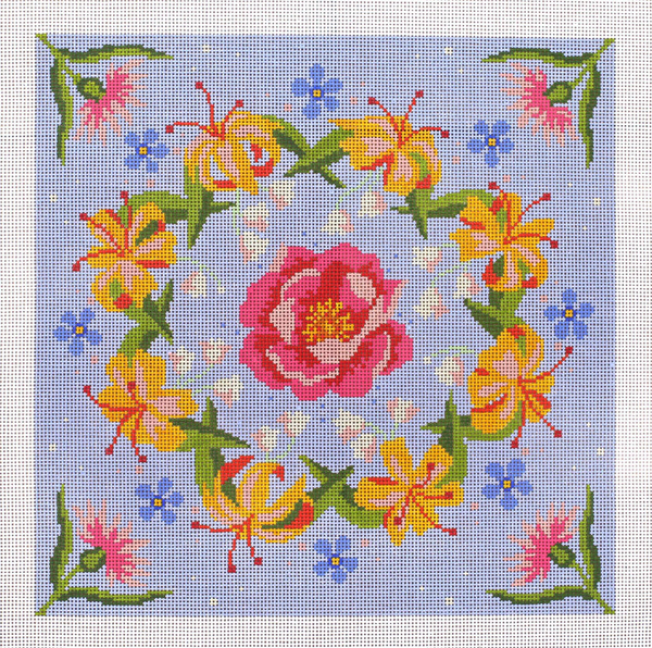 Wild Rose Hand Painted Needlepoint Canvas from Abigail Cecile