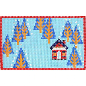 Woodland Home Winter Hand Painted Needlepoint Canvas from Abigail Cecile