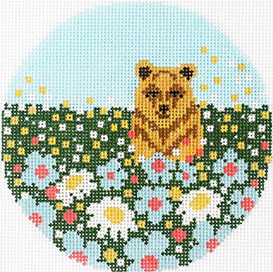 Daisy Bear Ornament Hand Painted Needlepoint Canvas from Abigail Cecile