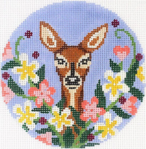 Wildflower Doe Ornament Hand Painted Needlepoint Canvas from Abigail Cecile