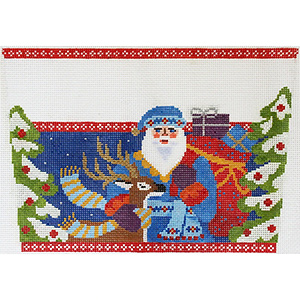 Jacobean Santa with Deer Stocking Cuff Hand Painted Needlepoint Canvas from Abigail Cecile