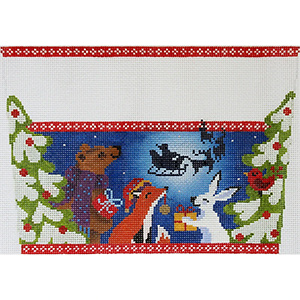 Christmas Eve in the Woods Stocking Cuff Hand Painted Needlepoint Canvas from Abigail Cecile