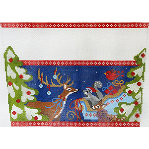 Woodland Animals Stocking Cuff Hand Painted Needlepoint Canvas from Abigail Cecile