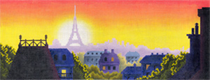 Rooftops of Paris Hand Painted Needlepoint Canvas from Abigail Cecile