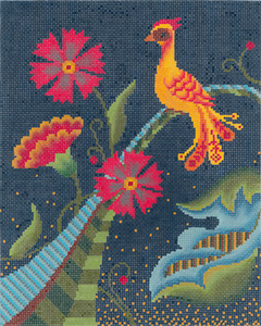 Jacobean Firebird Hand Painted Needlepoint Canvas from Abigail Cecile
