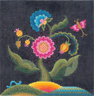 Jacobean Midnight Hand Painted Needlepoint Canvas from Abigail Cecile