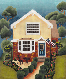 Picket Fence House Hand Painted Needlepoint Canvas from Abigail Cecile