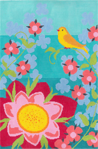Goldfinch Garden Hand Painted Needlepoint Canvas from Abigail Cecile