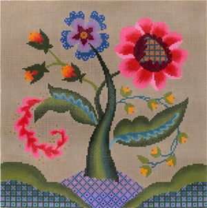 Jacobean Dusk Hand Painted Needlepoint Canvas from Abigail Cecile