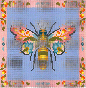 Garden Bee Hand Painted Needlepoint Canvas from Abigail Cecile