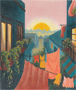 Rooftops of Italy Hand Painted Needlepoint Canvas from Abigail Cecile