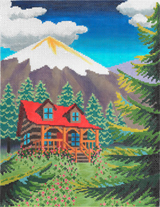 Mountain Cabin Hand Painted Needlepoint Canvas from Abigail Cecile