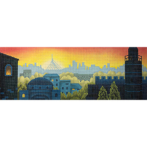 Rooftops of Jerusalem Hand Painted Needlepoint Canvas from Abigail Cecile