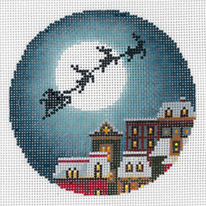 Christmas Eve Town Ornament Hand Painted Needlepoint Canvas from Abigail Cecile