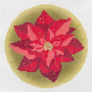 Gilded Poinsettia Ornament Hand Painted Needlepoint Canvas from Abigail Cecile